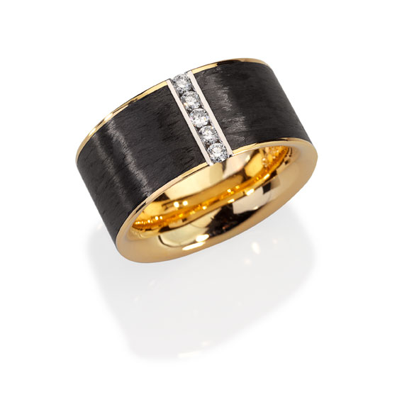 Ring - Gold 750/-, Platinum 950/- - 5 Diamonds - brilliant cut 0,183ct