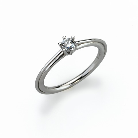 Ring - Platinum 950/- - 1 Diamond - brilliant cut 0,214ct
