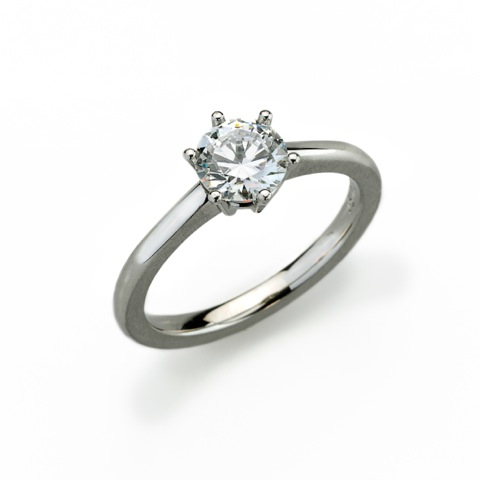 Ring - Platinum 950/- - 1 Diamond - brilliant cut tw(G)-vvs 1,07ct