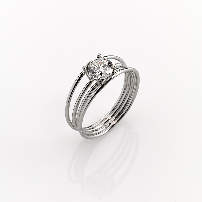 Ring - Platinum 950/- - 1 Diamond - brilliant cut 1,07ct