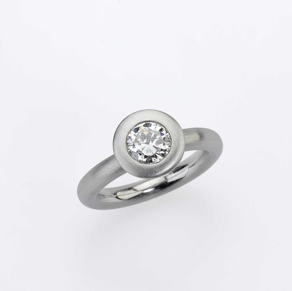 Ring Platinum 950/- 1 Diamond - brilliant cut r(E)-si1 1,01ct