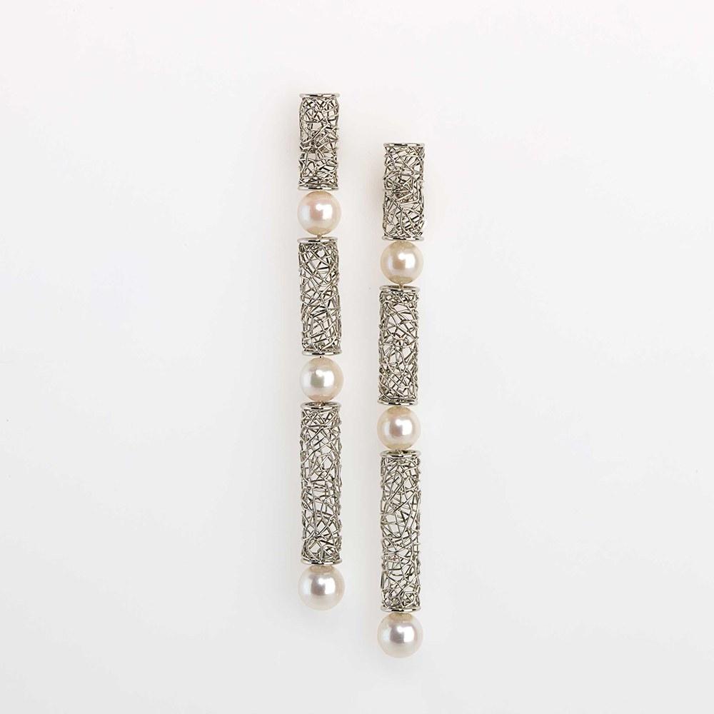 Earrings Platinum 950/- 6 Akoya-pearls