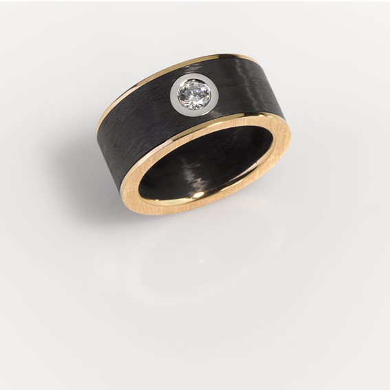 Ring - Gold 750/-, Platinum 950/- - 1 Diamond - brilliant cut 0,20ct