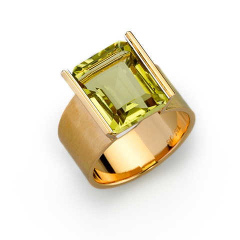 Ring Gold 750/-, Platinum 950/- 1 Lemonquarz 8,91ct