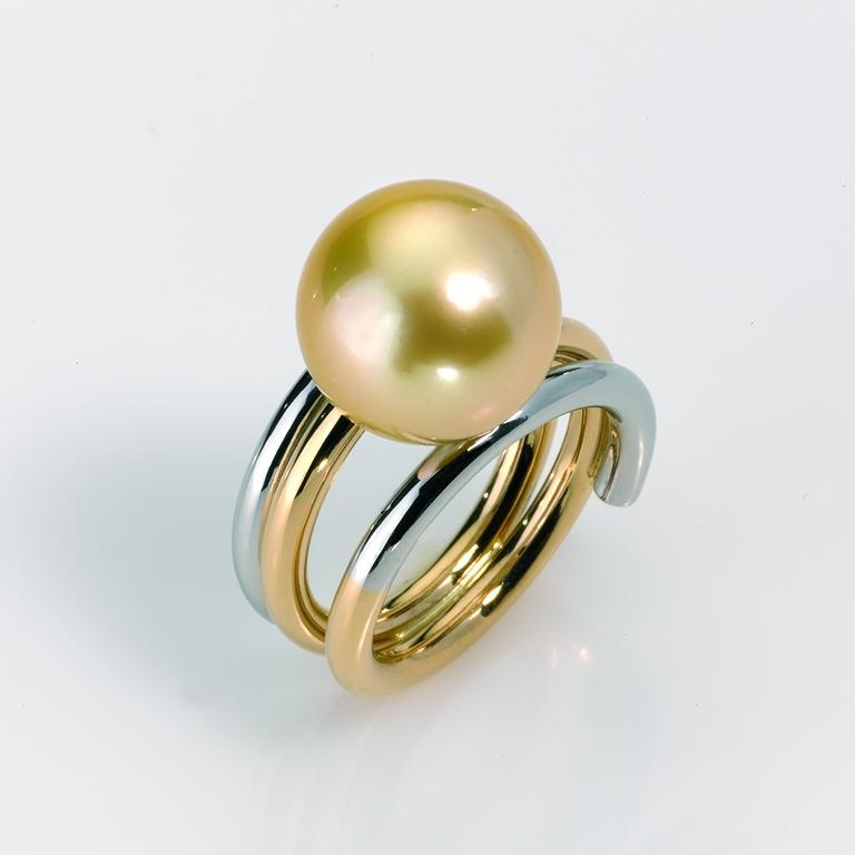Ring Gold 750/-, Platin 950/- 1 Tahiti-Südseeperle