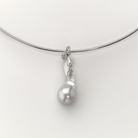Pendant Platinum 950/- 1 South sea pearl 3 Diamonds 0,129ct