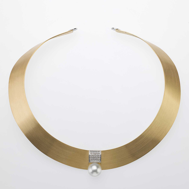 Necklace Gold/Platinum 1 Tahitian - south sea pearl 25 Diamonds - brilliant cut