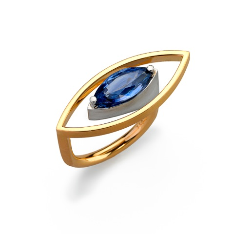 Ring Gold 750/-, Platin 950/- 1 Saphir-Navette 2,84ct