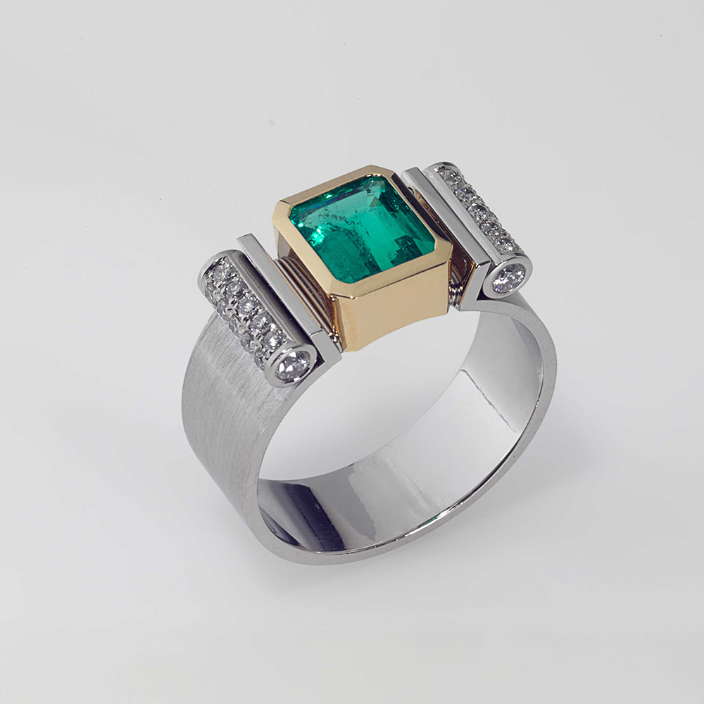 Ring Platin 950/- Gold 750/- 1 Smaragd 1,48ct 24 Brillanten 0,404ct