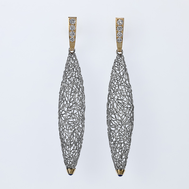 Earrings Platinum/Gold 2 Sapphires 8 Diamonds - brilliant cut