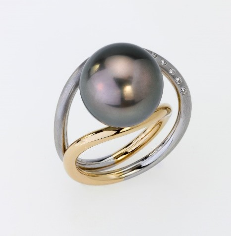 Ring Platin 950/-, Gold 750/- 1 Tahiti-Perle / Brillianten