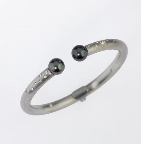 Bracelet Platinum 950/- 2 Tahitian-pearl / brilliant