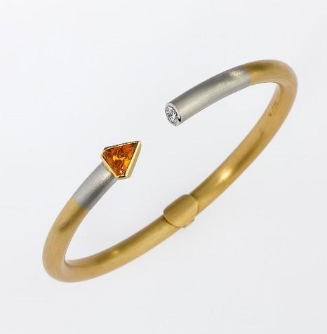 Armreif Gold 750/-, Platin 950/- Saphir / Brilliant