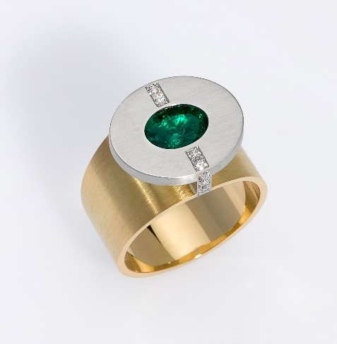 Ring Platin 950/-, Gold 750/- 1 Smaragd / 8 Brillianten